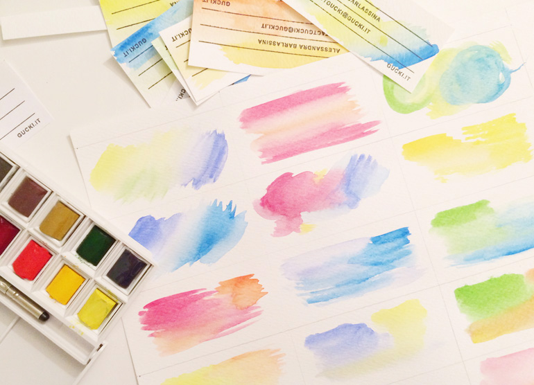 business card watercolour