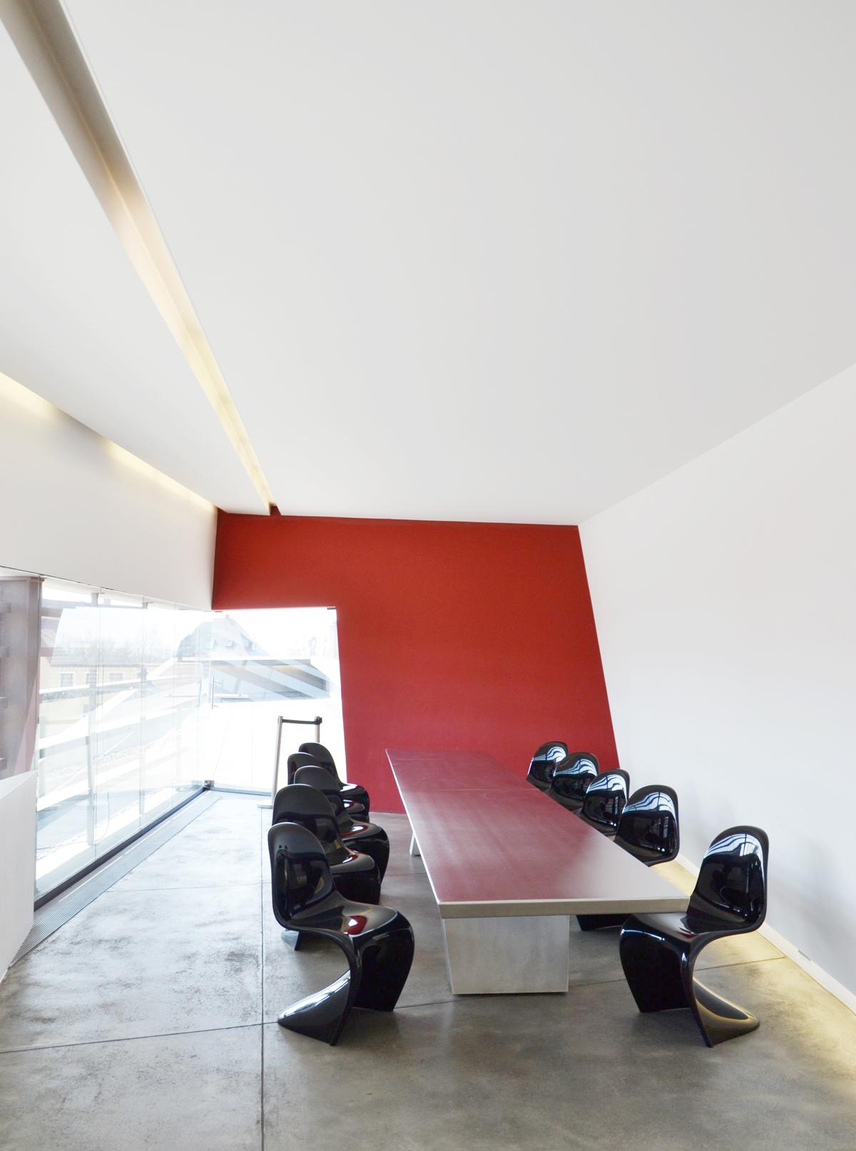 Zaha Hadid architecture Fire Station at Vitra Campus. Dining room