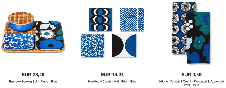 Marimekko collection for Target in blue