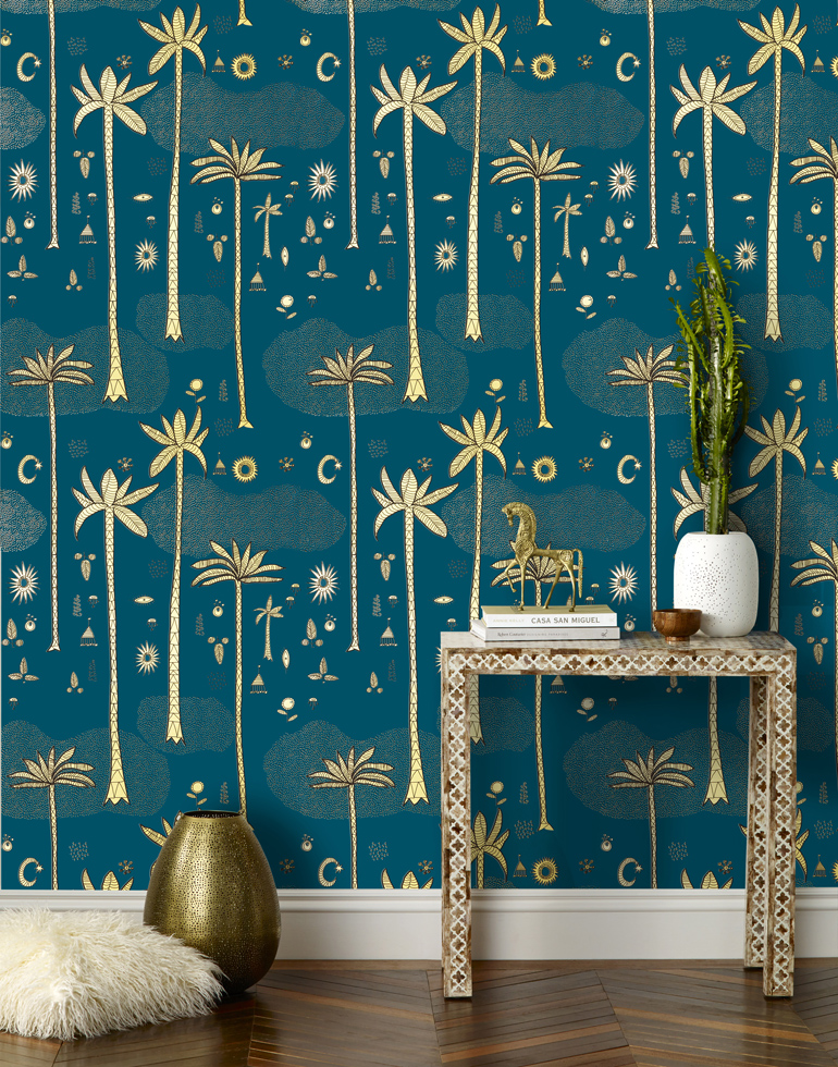 Justina wallpaper for Hygge&West, Cosmic Desert Teal Room