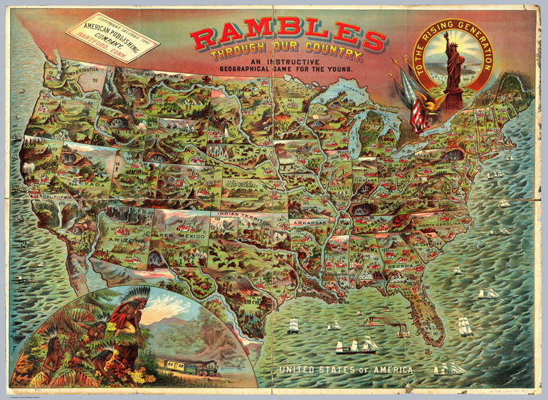 Cartina dell'America. Rambles through our Country. Usa, 1886. Gioco per bambini