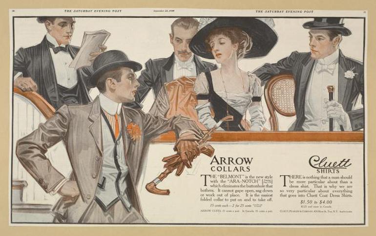 Pubblicità Arrow Collars, 1895-1917