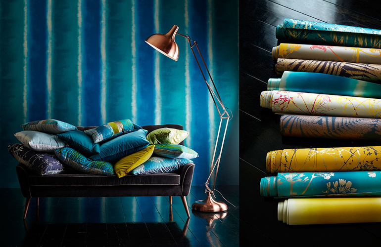1-Harlequin-callista-fabrics-wallpapers-blue-golden-silver-grey-azure-botanical-fennels-cushions-board-portrait