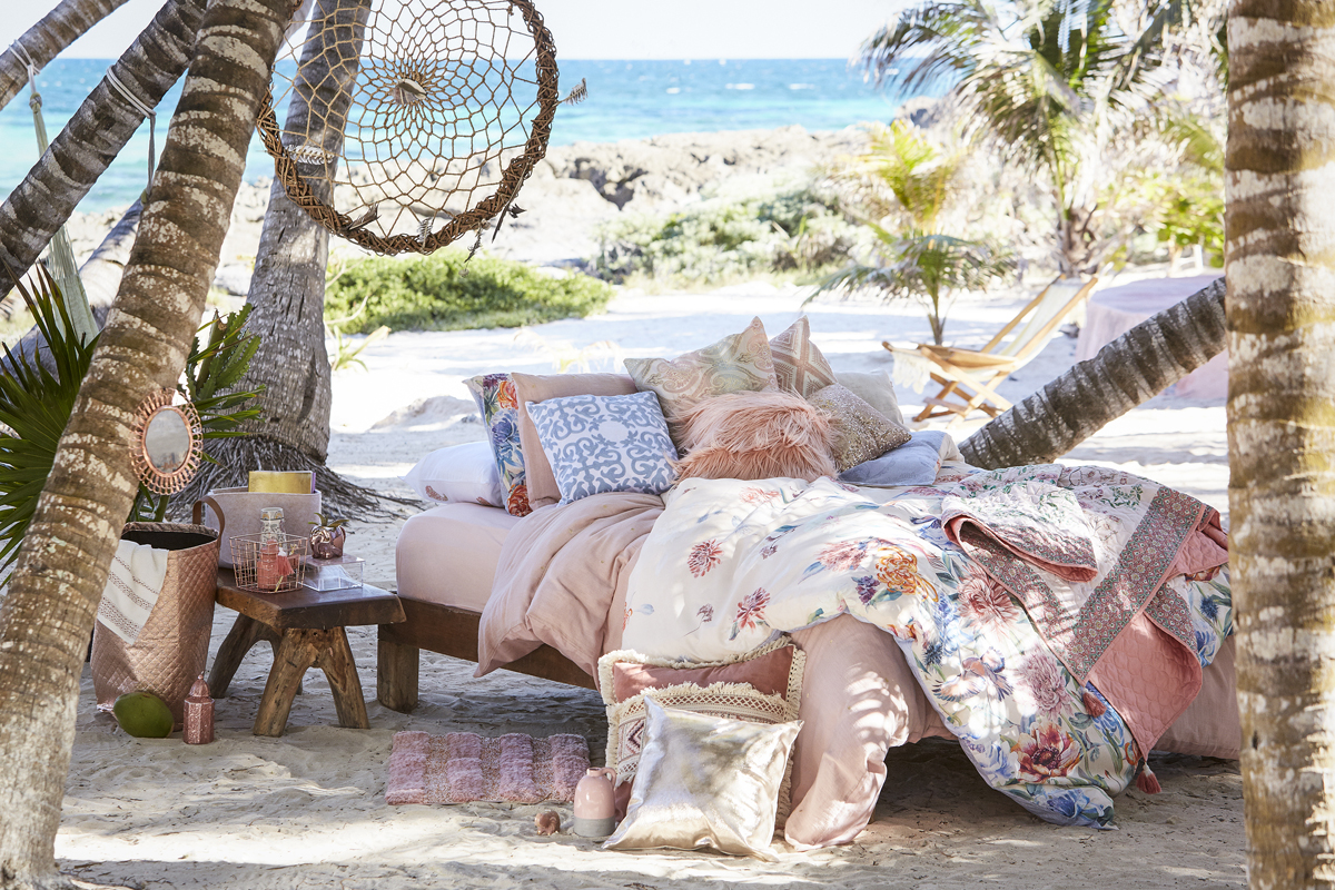 PRIMARK HOME LAZY SUMMER Bedspread from €16 cushions from €8 paisley candle €5