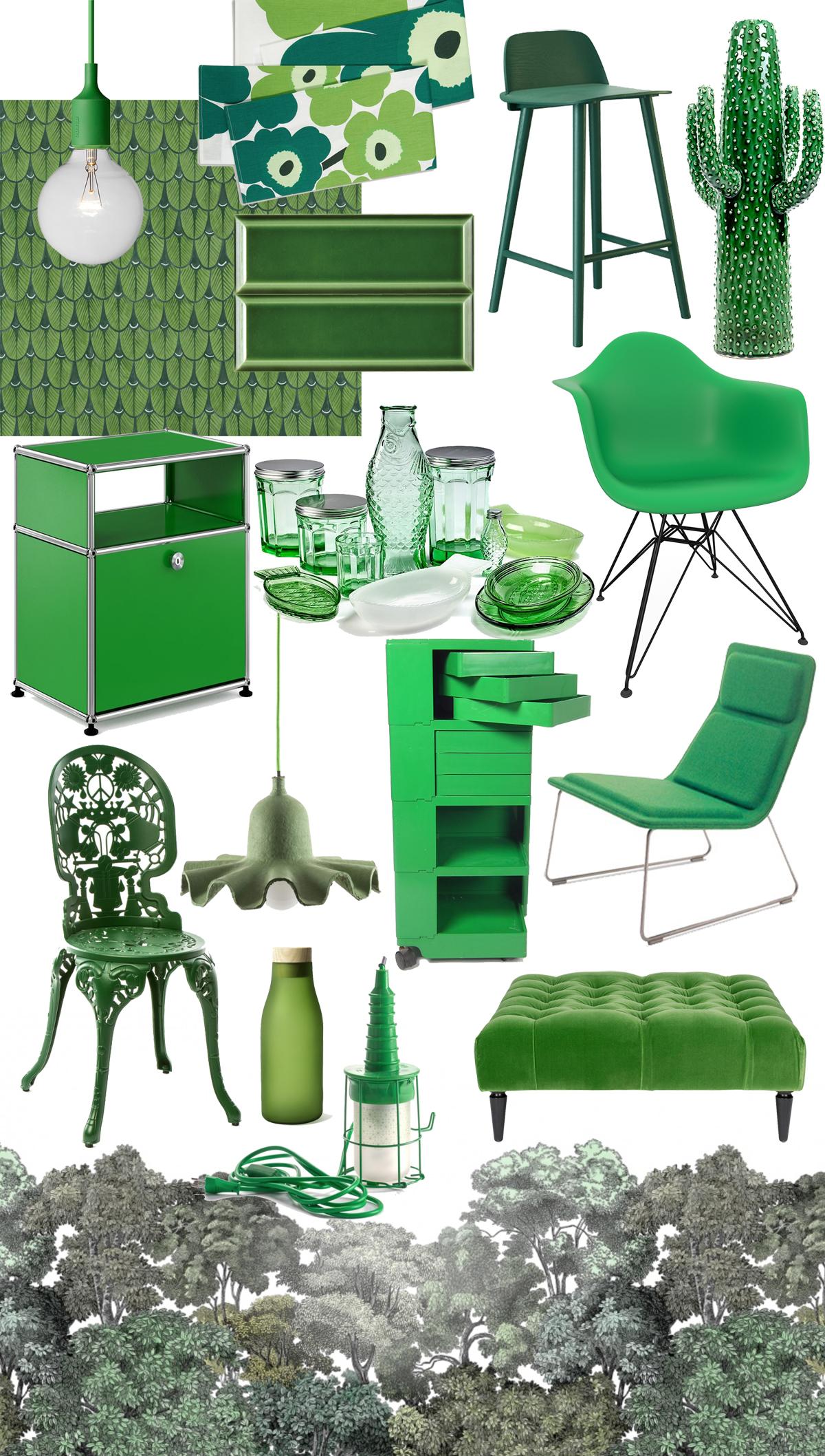tendenza colore verde arredamento