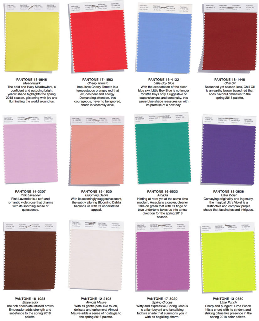 Predictions And Inspirations For Spring 2018 Colors By Pantone